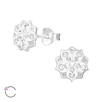 Blomma Kristall från Swarovski® - 925 Sterling Silver Öron dubbar - W39035x