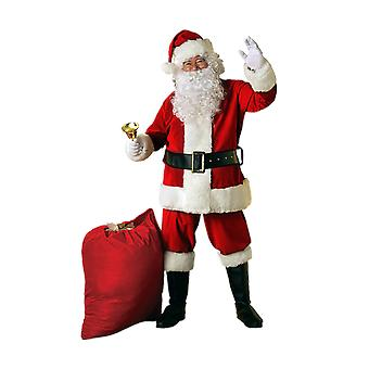 Mens Velvet Santa Costume Father Christmas Xmas Fancy Dress