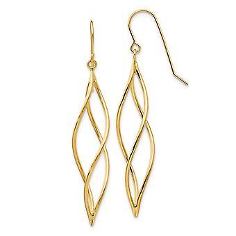 14k Yellow Gold Shepherd hook Polished Long Twisted Dangle Earrings Jewelry Gifts for Women
