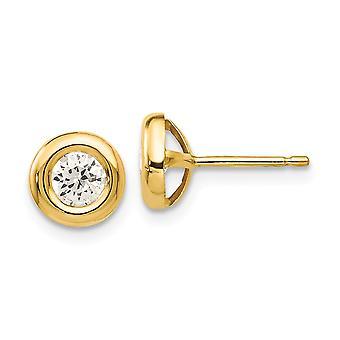 14k Ouro Amarelo Sólido Sólido De volta Polido CZ Cubic Zirconia Simulado Diamante Fantasia Brincos Mede 7x7mm Joias