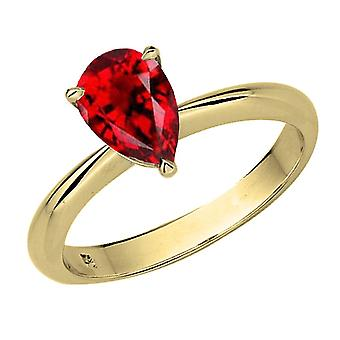 Dazzlingrock Collection 14K 8X6mm Pear Cut Garnet Solitaire Bridal Engagement Ring, Yellow Gold