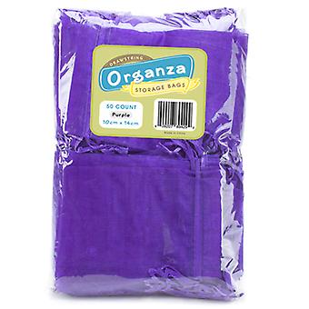 Lot of 50 Purple Drawstring Organza Storage Bags