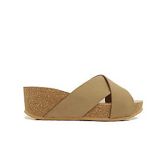 Paul Green 7516-00 Brown Nubuck Couro Mulheres Slip On Platform Mule Sandálias