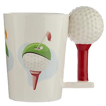Golf cup ball and tea 3D white, printed, 100% ceramic, socket÷gene approx. 350 ml.