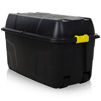 Strata 175 liter hoogwaardige kunststof doos met klem op deksel en wielen