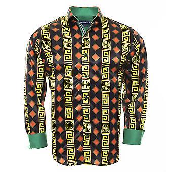Oscar Banks Vibrant Multicoloured Print Mens Shirt