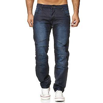 Mænds Jeans belagt bukser voksede løs Fit Biker stil bukser blå Denim bomuld