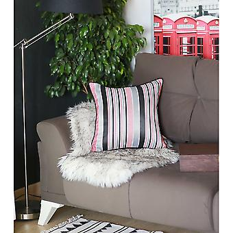 Coral Variegated Stripe Decorative Throw Pillow Cover