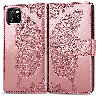 Butterfly Love Flowers Emboss Folio Leather Case Para iPhone 11 Pro Max, Holder, Slots de Cartão, Carteira, Lanyar, Ouro Rosa