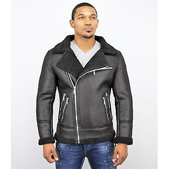 Imitation Fur Coat - Manteau lammy - Noir
