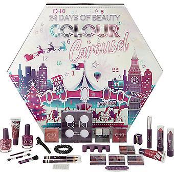Q-KI Colour Carousel 24 Days of Beauty Advent Calander - 5 x 4.2g Eyeshadow, 4g Blusher, 5ml Mascara, 2 x 3.3g Lipstick, 2 x Lip Liner, 2 x 8ml Nail Polish, 2.2g Lip Balm 2 x 11ml Lip Gloss, Sharpener, Gems, Bobble, Clips, Interchangable Compact