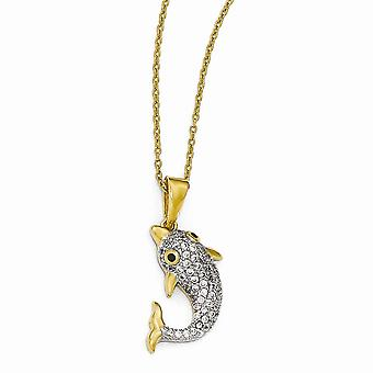 Cheryl M 925 Sterling Silver 14k Gold Plated With Rhodium CZ Cubic Zirconia Simulated Diamond Dolphin Necklace 18 Inch J