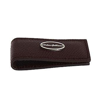 Dolce & Gabbana Bordeaux Leather Magnet Money Clip
