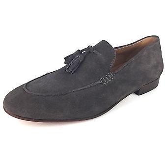 Hudson Bolton Suede Grey Slip em Sapatos Tassle Loafer