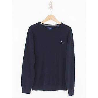 GANT Cotton Crew Neck Logo Knit - Evening Blue