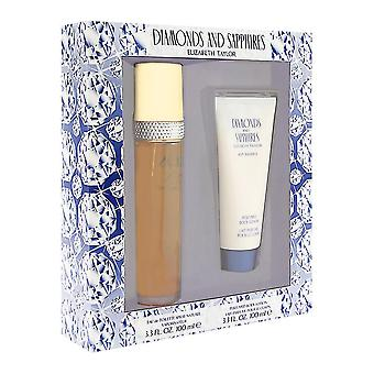 Diamonds & sapphires by elizabeth taylor for women 2 piece set includes: 3.3 oz eau de toilette spray + 3.3 oz perfumed body lotion