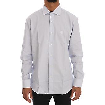 Cavalli Blue Striped Cotton Slim Fit Shirt