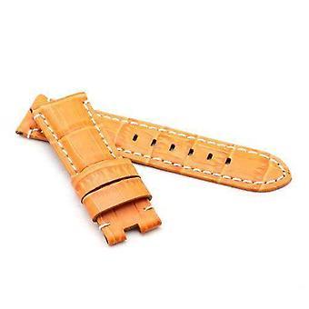 Crocodile grain calf leather watch strap orange premium strap for panerai 22mm to 24mm