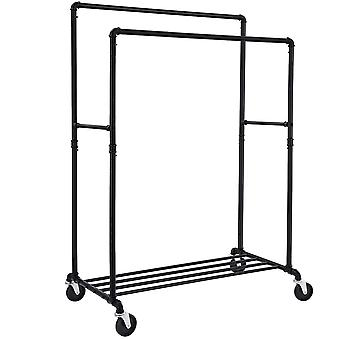 Metal clothing rack with 2 rods, grille and wheels - black