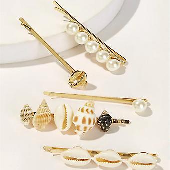 5-pakning hårnåler med skjell og perler