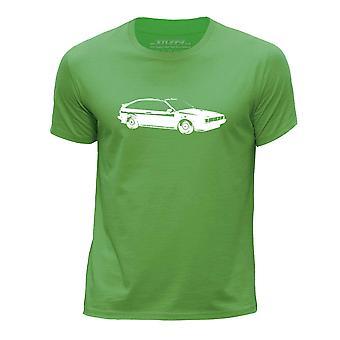 STUFF4 Boy's Round Neck T-Shirt/Stencil Car Art / Scirocco Mk2/Green