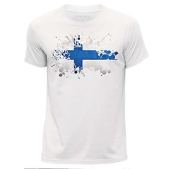 STUFF4 Mężczyzn wokół szyi T-shirty Shirt/Finlandia/fiński flaga Splat biały