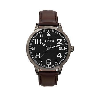 Elevon Sabre Leather-Band Watch w/Date - Gunmetal/Black/Brown