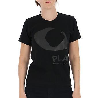 Comme Des Garçons Play P1t1911 Women's Black Cotton T-shirt