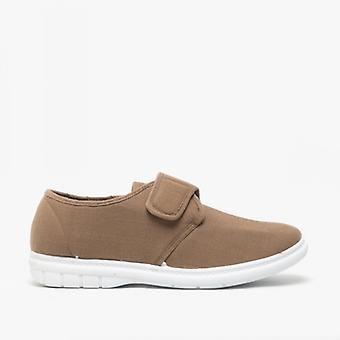 Scimitar Eliot Mens Padded Casual Velcro Shoes Taupe