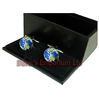 Planet Earth Cufflinks - Gift Boxed - World Globe Satellite Gift Cuff Links