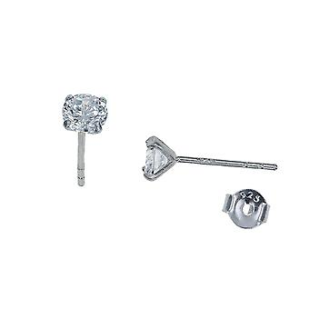 The Olivia Collection Sterling Silver Clear Solitaire Stud Earrings