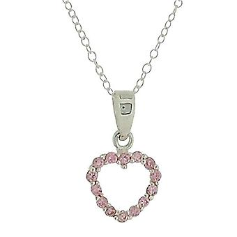 Jo For Girls Sterling Silver Pink CZ Open Heart Pendant Necklace 14