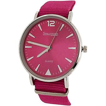 Stratford Ladies Large Hot Pink Dial & Hot Pink Nylon Buckle Strap Watch STF104E
