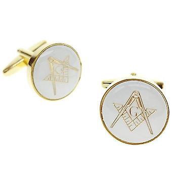 Masonic cufflinks round golden
