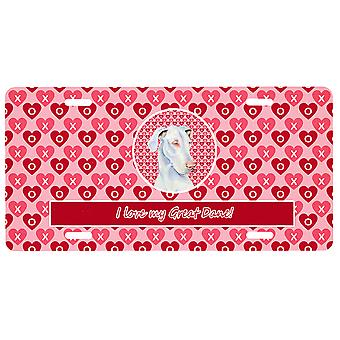 Carolines Treasures  LH9131LP Great Dane Valentine's Love and Hearts License Pla