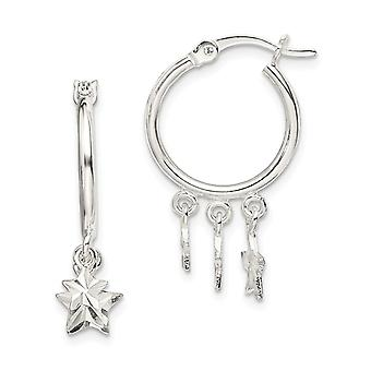 925 Sterling Silver Star Dangle Hoop Örhängen Mäter 25.6x4.3mm Bred 1.5mm tjocka smycken gåvor för kvinnor