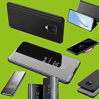 Para Xiaomi Redmi Note 9S/9 Pro Clear View Mirror Smartcover Preto Capa capa capa capa caso caso caso novo caso wake up função