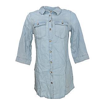 Belle by Kim Gravel Women's Top Button Down Tunic w/ Pocket Blue A291218
