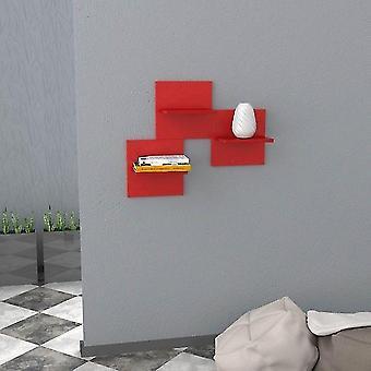 Mensola Saka Colore Rosso in Truciolare Melaminico, Ogni Mensola L30xP20xA30 cm