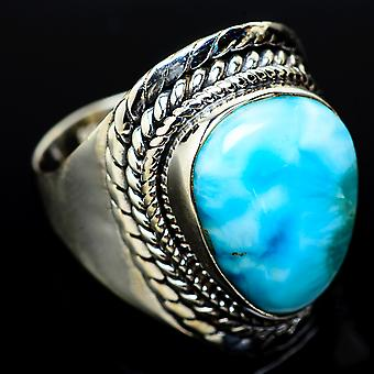 Larimar Ring Size 8 (925 Sterling Silver)  - Handmade Boho Vintage Jewelry RING14254