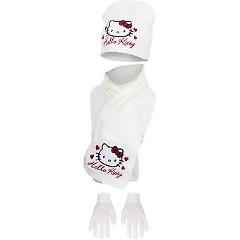 Hello kitty girls hat, scarf and gloves set