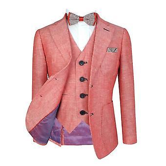 男の子イタリアの赤いリネン ボーイ結婚式のディナー ・ スーツ