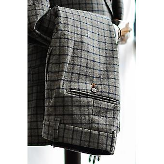 Cheyne Grey With Navy & Brown Check Suit Trousers