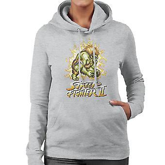 Street Fighter II Pixel Blanka Women's Hooded Sweatshirt