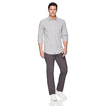 أساسيات الرجال العادية تناسب طويل الأكمام عارضة بوبلين قميص، رمادي ميني غينغهام، كبير
