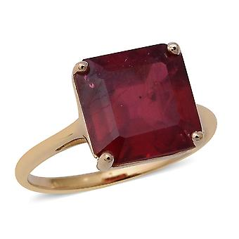 AAA African Ruby 9ct Yellow Gold Solitaire Ring for Women, 7.15 Ct TJC