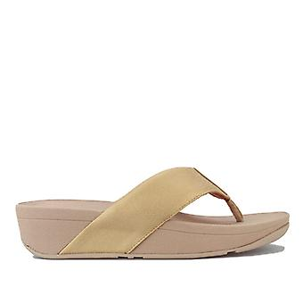 Women's Fit Flop Demelza Shimmer Toe Thong Sandals in Gold
