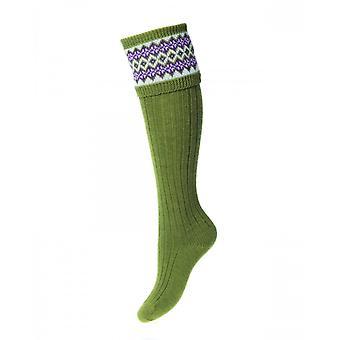 Huis van Cheviot Welly Socks Lady Fairisle ~ Moss
