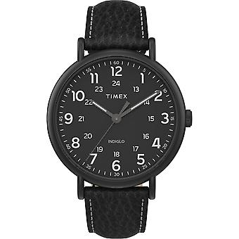 TW2T73400, Timex TW2T73400 Men's Weekender XL 43mm Orologio a cinturino in pelle nera a 2 pezzi