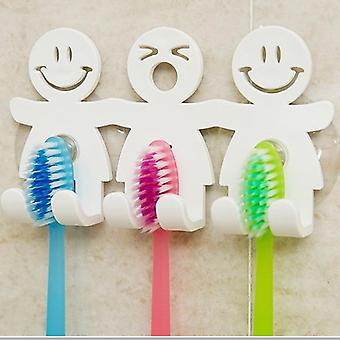 Fun Smile Face Bathroom Kitchen Toothbrush Towel Holder Wall Sucker Hook Cup